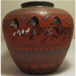 Navajo Etched & Painted Horses Pottery - Aaron Watchman