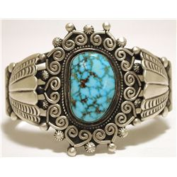 Old Pawn Navajo Spider Web Kingman Turquoise Sterling Silver Cuff Bracelet - DM
