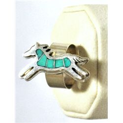 Navajo Turquoise Inlay Horse Sterling Silver Women's Ring - Francis