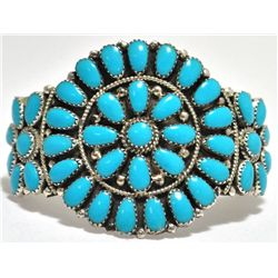 Navajo Turquoise Cluster Sterling Silver Cuff Bracelet - Juliana Williams
