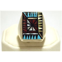 Zuni Multi-Stone Inlay Sterling Silver Men's Ring - Angelena Laahty