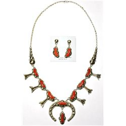 Navajo Coral Necklace & Earrings Set - Clem Nalwood