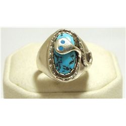 Zuni Turquoise Sterling Silver Snake Men's Ring - Effie Calavaza