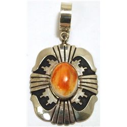 Navajo Spiny Oyster Sterling Silver Pendant - Tommy Singer