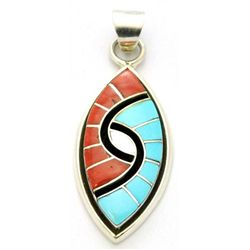 Zuni Coral & Turquoise Sharp Oval Pendant - Amy Quandelacy