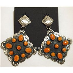 Navajo Spiny Oyster Sterling Silver Post Earrings - Albert J Brown