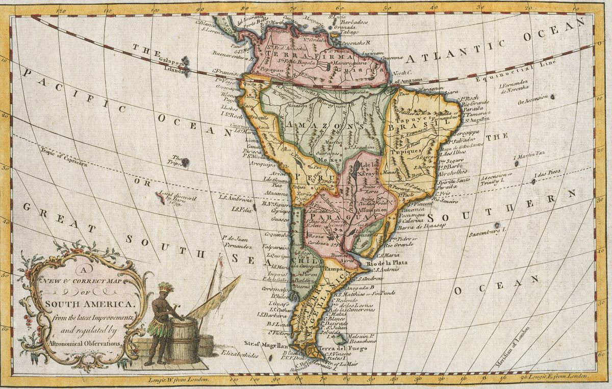 Small british map of south america maker unknown 1700s hand small british map of south america maker unknown 1700s hand colored loading zoom gumiabroncs Image collections