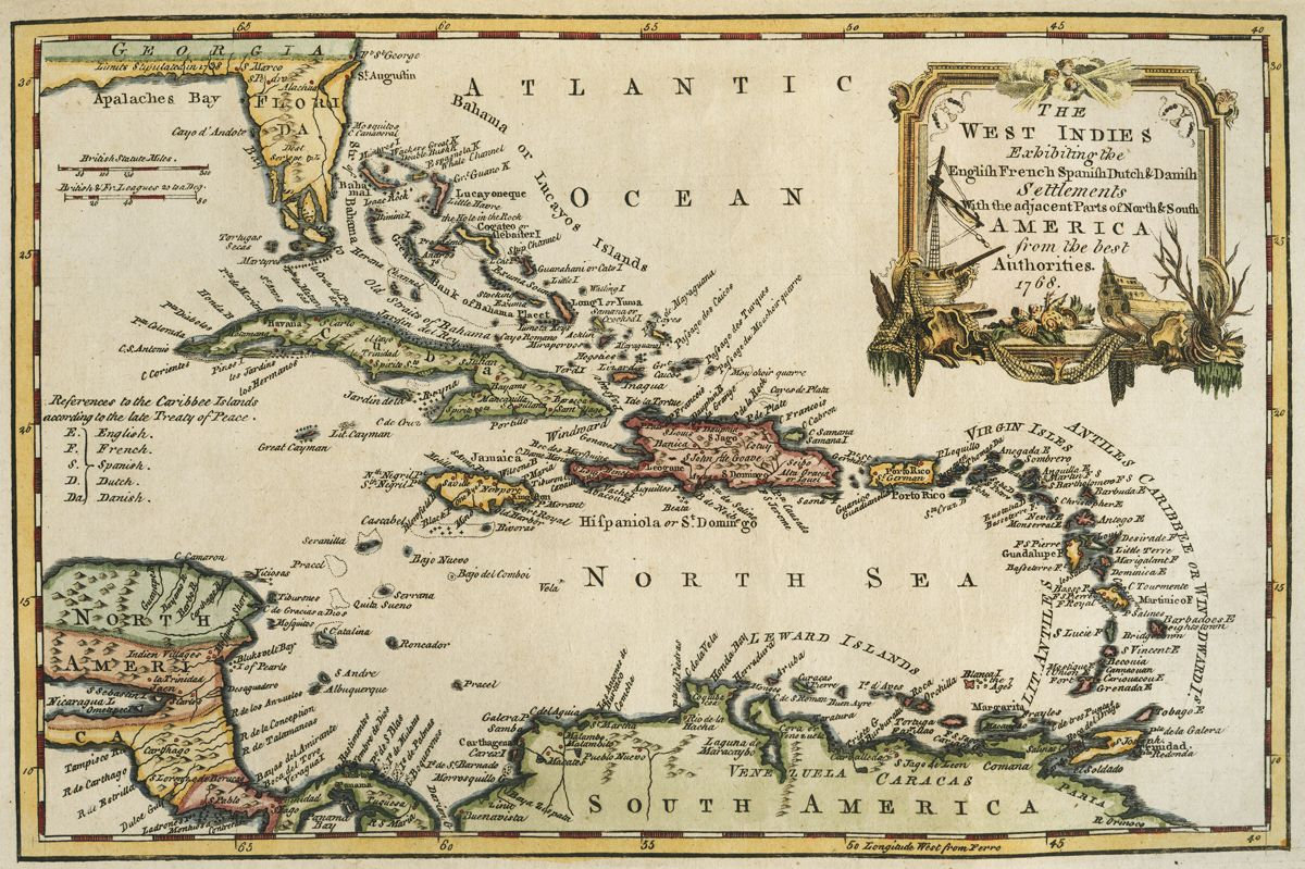 Small British map dated 1768 of the West Indies, engraved for ...