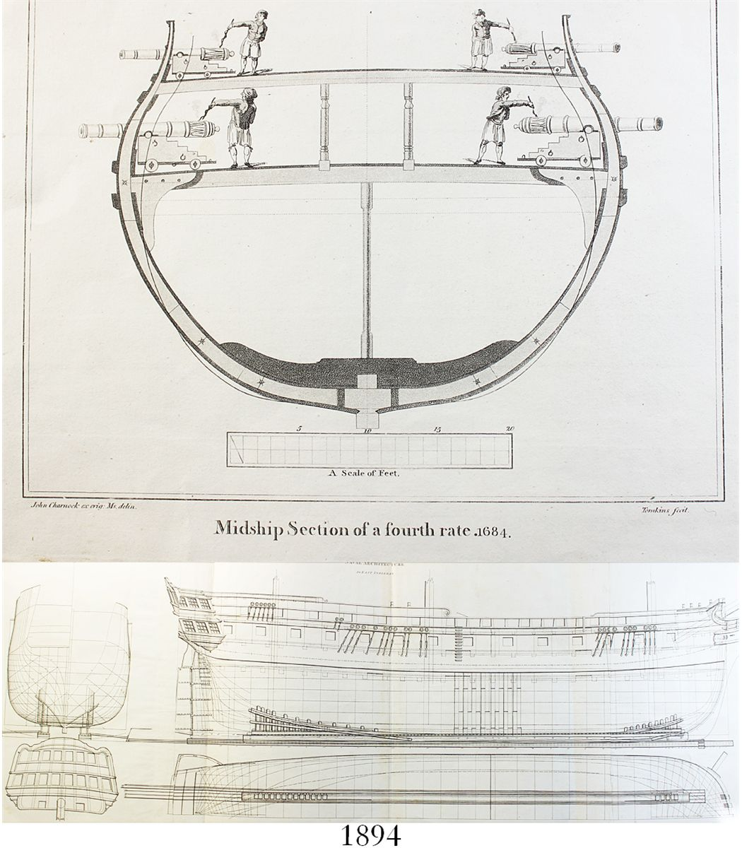 Lot of 2 ship diagrams east indiaman 1816 and fourth rate 1684 lot of 2 ship diagrams east indiaman 1816 and fourth rate 1684 from 1800s publications pooptronica Images