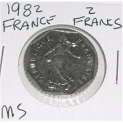 1982 FRANCE 2 FRANCS *RARE MS HIGH GRADE!! COIN CAME OUT OF SAFE!!