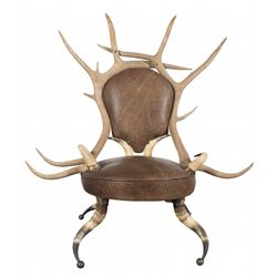 Antique Elk Antler, Cow Horn and Leather Chair