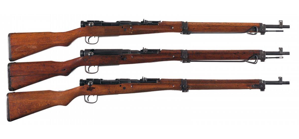 Three Japanese Arisaka Type 99 Bolt Action Rifles