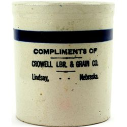 "Beater Jar ""Crowell LBR. & Grain Co. Lindsay Neb"