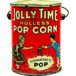 Jolly Time Popcorn tin litho, wire bale handle
