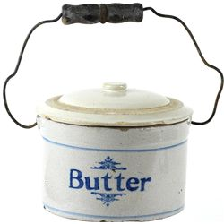 "Butter Crock with bale, front marked ""Butter"""