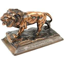 Figural lion Paperweight adv. CH Reimerth and Co.