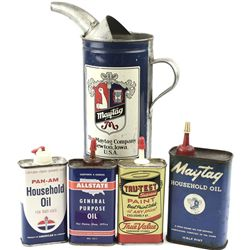 Collection of 5 oil cans includes a terrific tin