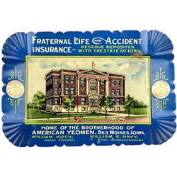 Fraternal Life & Accident Insurance tin litho tip