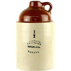 Crock whiskey jug marked Medalta Potteries