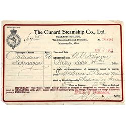 1907 dated Cunard Steamship Co. passenger receipt