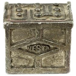 Antique adv. Paper weight for Vesta Batteries