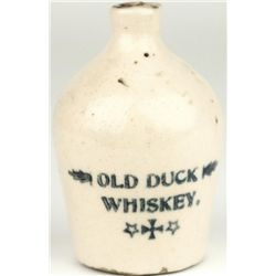 "Miniature antique adv. crock jug ""Old Duck Whiskey"