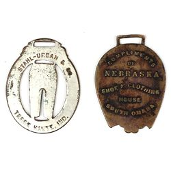 Collection of 2 early advertising watch fobs