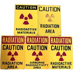 Collection of 5 Radiation Caution signs
