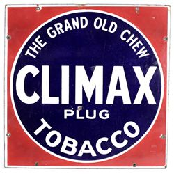 Early enameled Climax Plug Tobacco sign
