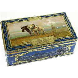 C. 1926 lithograph biscuit tin marked compliments