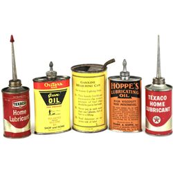 Collection of 5 vintage oil cans includes