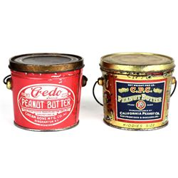 Collection of 2 early lithograph peanut butter tin