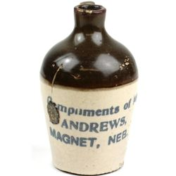 Miniature antique advertising crock jug