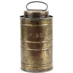 Early brass lidded canister
