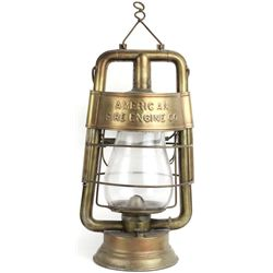 Wire bottom base lantern marked American Fire