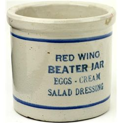 Antique Redwing advertising beater jar