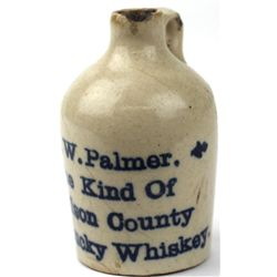 Antique miniature advertising crock jug JW Palmer
