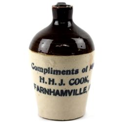 Antique miniature advertising crock jug