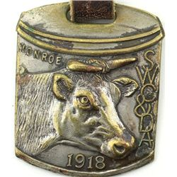 Antique watch fob with cow head marked SWC & DA
