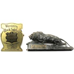 Collection of 2 include crouching lion paperweight