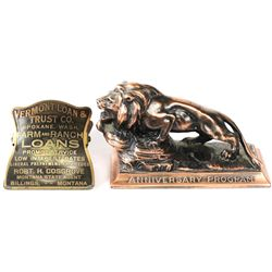 Collection of 2 paper weights includes a Lions