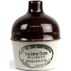 Antique miniature adv. crock Phoenix Club Whiskey