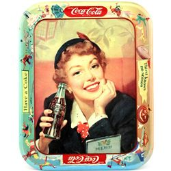 Coca Cola serving tray C. 1950's Menu Girl