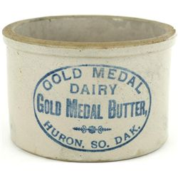 Antique Butter Crock stamped Gold Metal Dairy