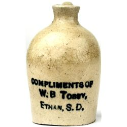 Antique miniature crock jug  WB Tobby Ethan, S.D.