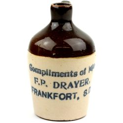 Antique miniature advertising crock jug stamped
