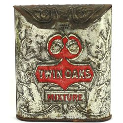 Twin Oaks tin with hinged top tobacco pocket tin