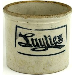 Antique Advertising Butter Crock for Luyties