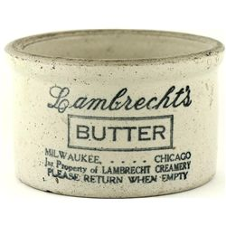 Antique adv. butter Crock Lambrecht's Butter