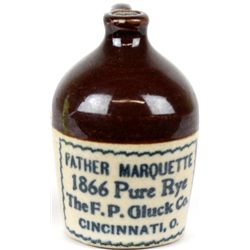 Antique miniature adv. crock jug Father Marquette